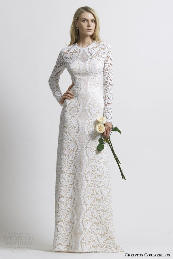 christos costarellos wedding dress 2014 cotton lace bridal gown long sleeve   weddingbrand.com