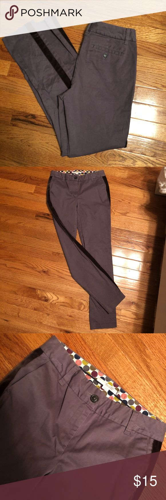 Boden Tuxedo Stripe Pants Taupe colored pants with a dark grayish/brown velvet tuxedo stripe. Excellent condition. Boden Pants Skinny