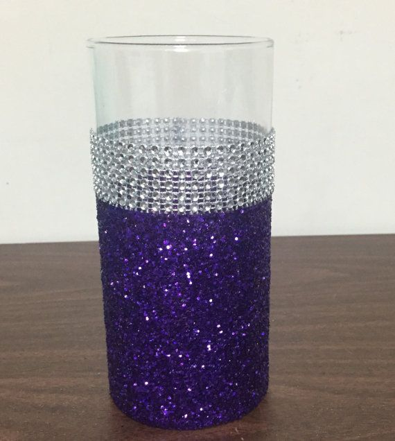 Wedding centerpiece, bridal shower decorations, brides flower bouquet holder, bridesmaid bouquet holder, candle holder Purple wedding theme, purple glitter vase  Vase is 7H LISTING IS FOR ONE VASE ONLY  Convo me with any questions or requests before ordering.