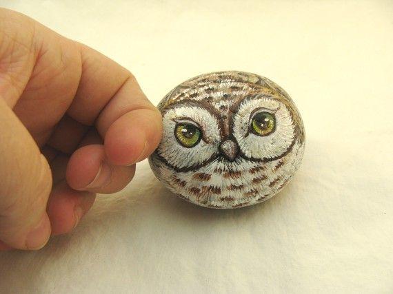 owl painted rocks | Painted Rocks, brown owl