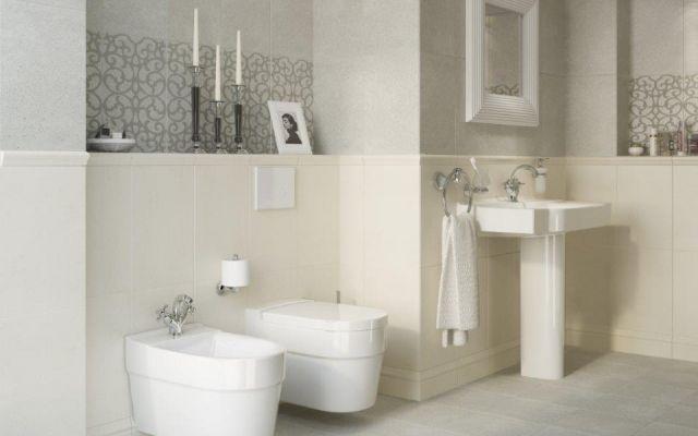 grey and cream bathroom; Aranżacja - Claso - Cersanit