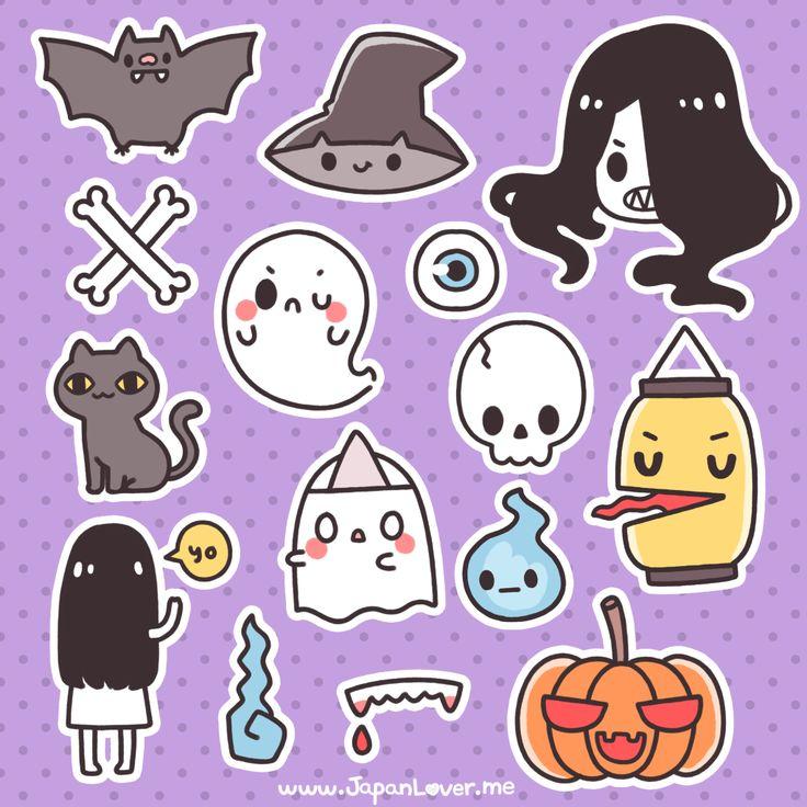 Learn to draw kawaii cartoons. Easy to draw cute, cartoon characters - How to Doodle .... (Printable Spooky Kawaii Stickers for Halloween!)