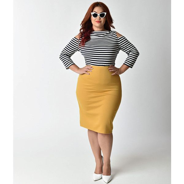 Plus Size Vintage Style Mustard Stretch Knit High Waist Pencil Skirt ($28) ❤ liked on Polyvore featuring plus size women's fashion, plus size clothing, plus size skirts, yellow, high-waisted pencil skirts, stretch pencil skirt, high-waist skirt, mustard pencil skirt and stretchy pencil skirt