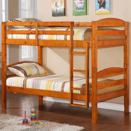 Twin Over Twin Solid Wood Bunk Bed, Multiple Colors, Yellow