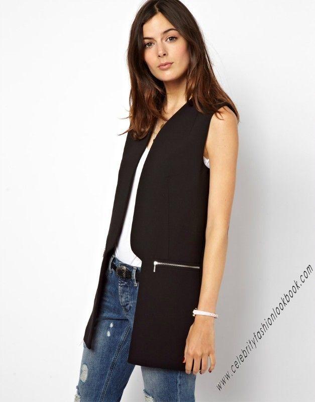 Loose Fit #Tuxedo Zip #Vest http://celebrityfashionlookbook.com/catalogsearch/result/?q=v18  #streetstyle