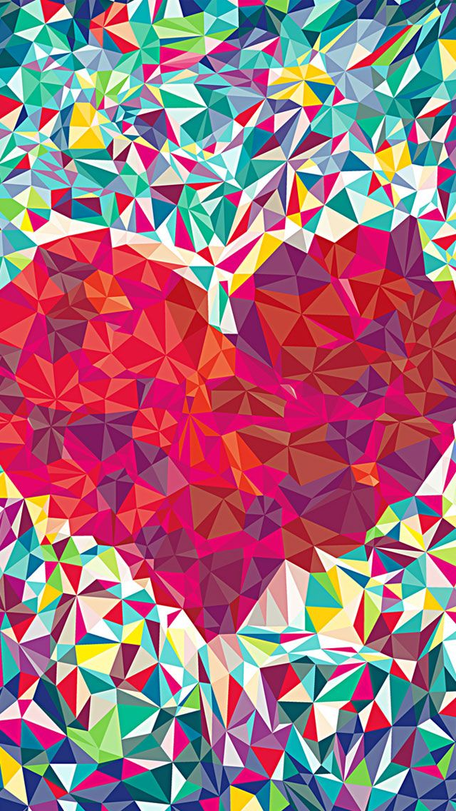 Colourful Heart - Beautiful iPhone wallpapers @mobile9 | #abstract #geometric…