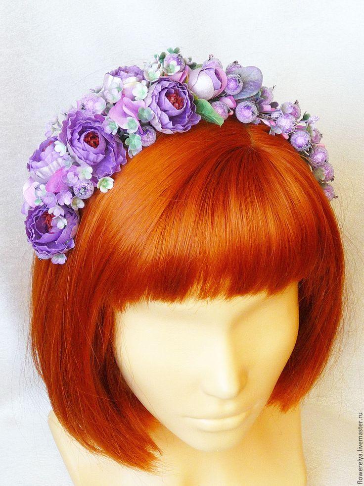 Купить Ободок для волос Весенний - сиреневый, ободок весенний, ободок с цветами купить, ободок с цветами