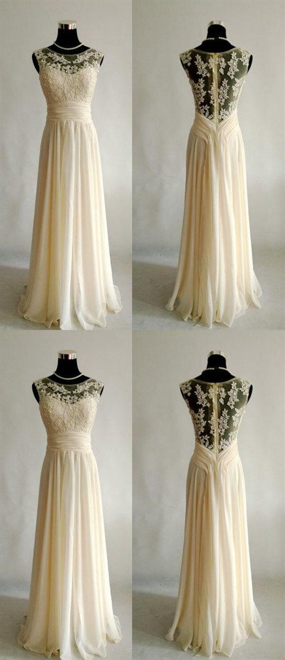 7077af58cf5 Unique Rice White A Line Empire Waist Open Back Chiffon Prom Dresses Long  Evening Dresses
