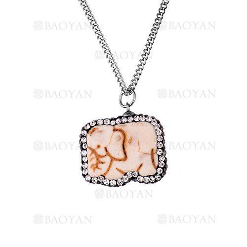 collar de elefante blanco brillo en acero plateado inoxidable -SSNEG503269