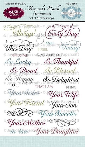 2013   # AG-04565   Mix and Match Sentiments Clear Stamps Set of 28 Amazing Paper Grace Clear Stamps   $16.95