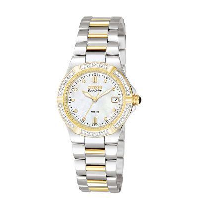 Citizen Ladies diamond dial with two tone strap watch- at Debenhams.ie