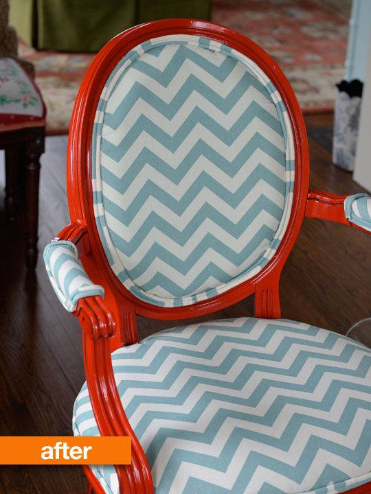 Before & After: Charlottes Craigslist Chairs get Chevron-ed