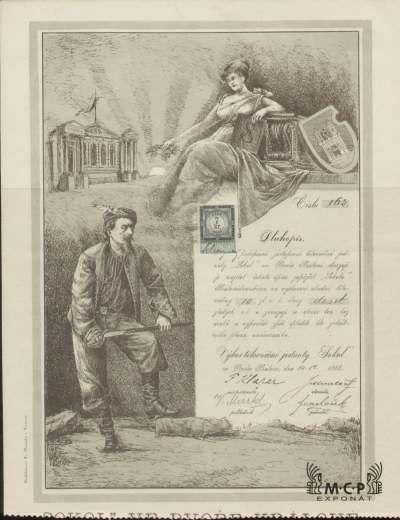 """Muzeum cennych papiru A1245Tělocvičná jednota """"Sokol"""" ve Dvoře Králové 1888"""