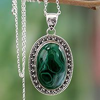 Malachite pendant necklace, 'Forest Whirlwind' #handmade4life