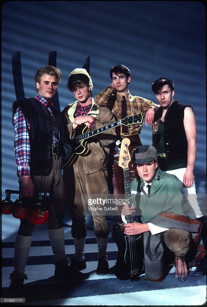 Steve Norman, Gary Kemp, Tony Hadley, Martin Kemp, John Keeble of Spandau Ballet during a video shoot for their single 'Instinction', 12th March 1982.
