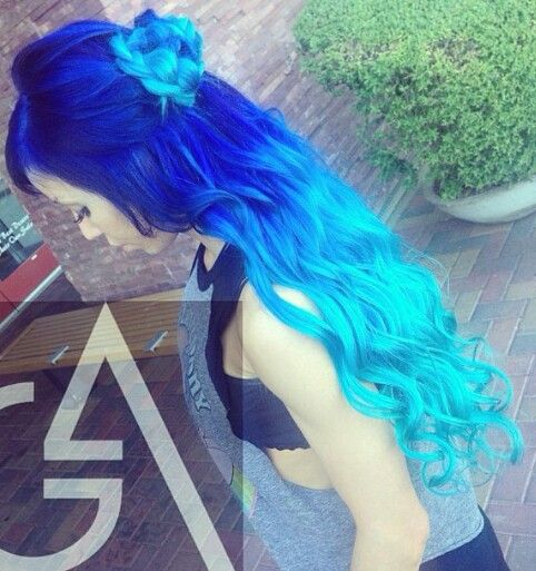 Royal blue to sky blue ombre hair. That's what my best friend is having her hair like