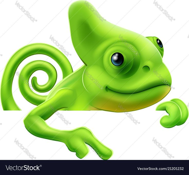 an illustration of a cute cartoon chameleon pointing from