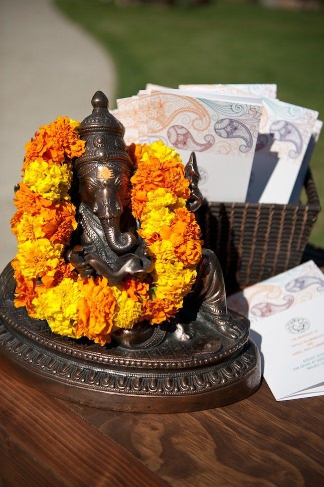 Ganpathi with his favorite marigold flowers.  Photography by theimageisfound.comTheimageisfound Com Reading, 462722, Saddlerock Ranch, Loveandsplendorcom Photography, Cards Holders, Events Plans Design, Theimageisfoundcom Reading, Ranch Weddings, Floral Events Design