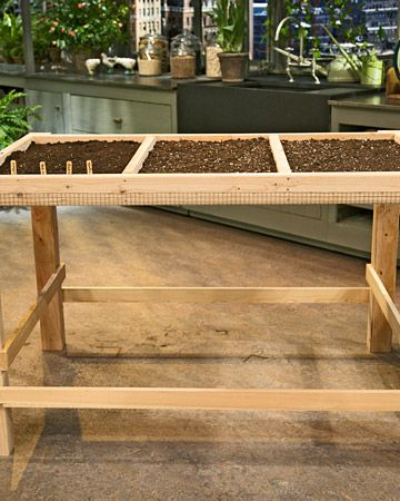 Martha's salad table how-to puts salad greens right at your backdoor.Vegetables Gardens Tips, Salad Green, Salad Tables, Back Doors, Gardens Design Ideas, Growing Salad, Martha Stewart, Ropes Lights, Wooden Crafts