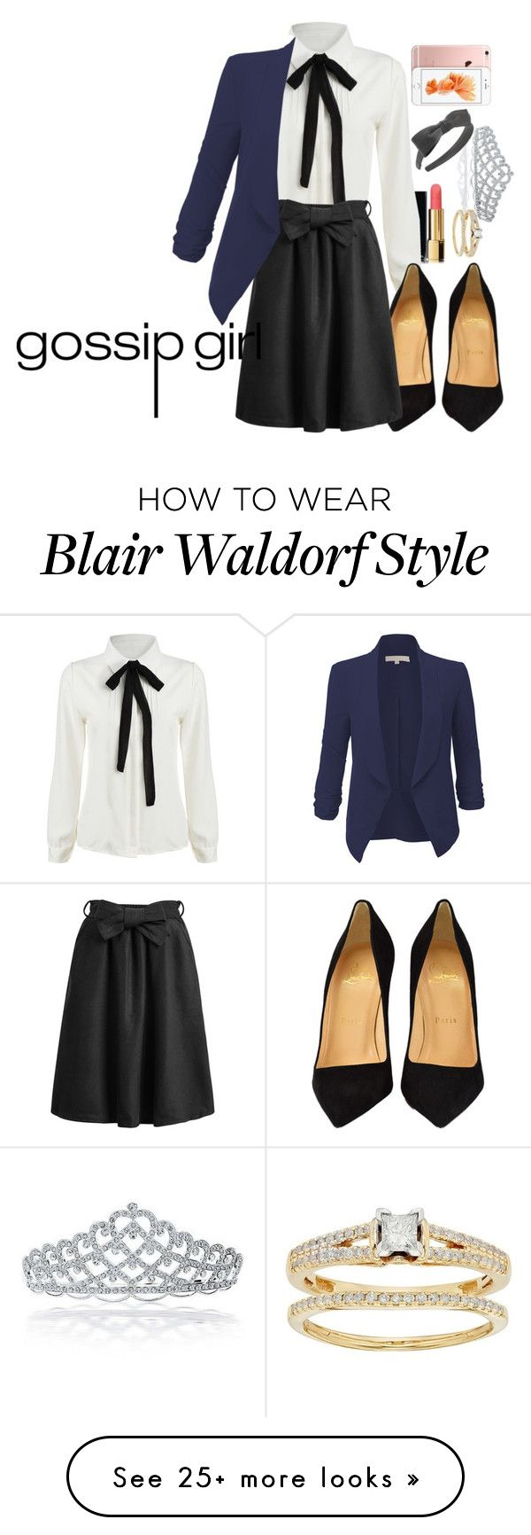"""""""Blair Waldorf Inspired Gossip Girl"""" by kittycat-477 on Polyvore featuring Bling Jewelry, Chanel, Christian Louboutin, L. Erickson, LE3NO, blairwaldorf, gossipgirl, blair, gg and waldorf"""