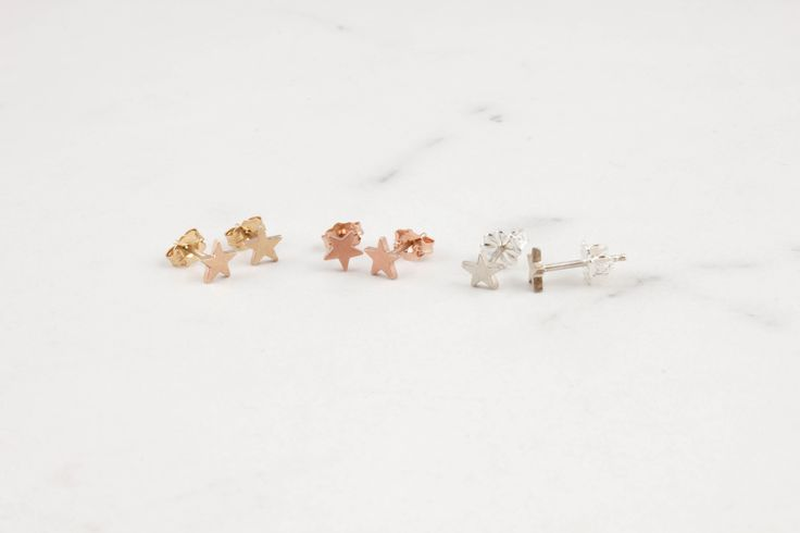 How cute are these tiny micro star studs?! ✨All of our jewelry can be made in sterling silver and yellow, white or rose gold