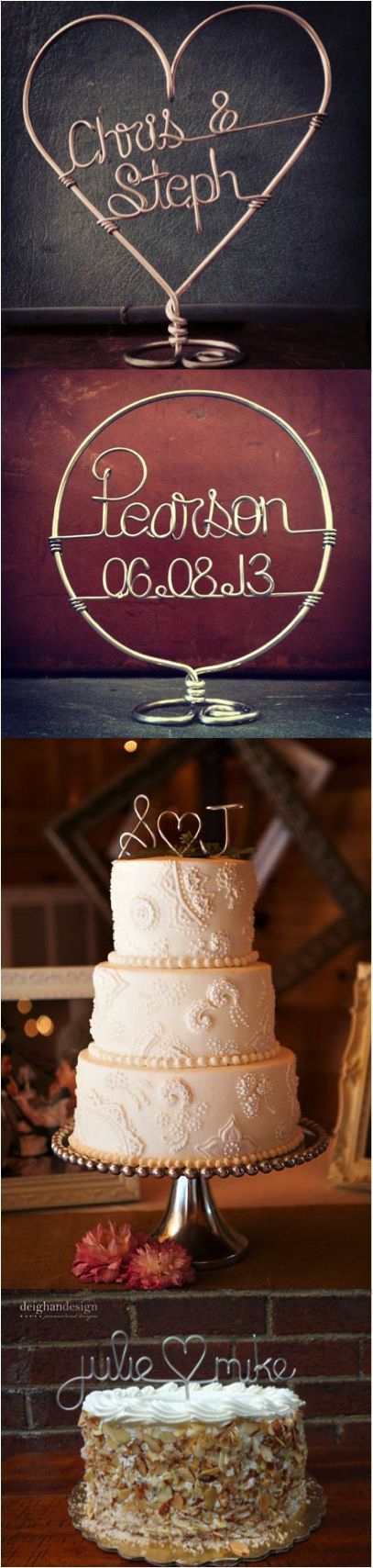 Handmade wire cake toppers personalized with your name, initials, or wedding date. Made on Hatch.co