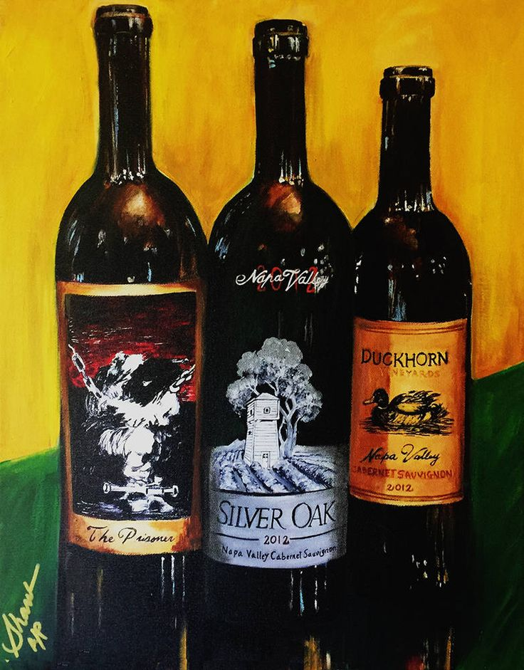 Wine painting Silver oak, prisoner and Duckhorn.  The image of the Silver Oak Cabernet wine from Nap