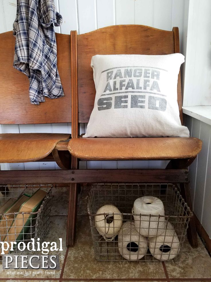 Antique Theater Seats in Home Decor   Refresh old wood with one simple method by Prodigal Pieces   www.prodigalpieces.com