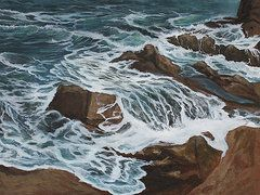 Ed Cabral Art - Rocky waves water study by Ed Cabral