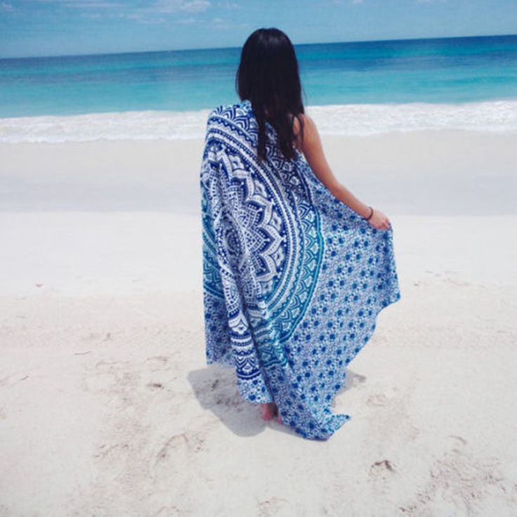 XINLANISNOW Summer Square Indian Mandala Beach Towel Gypsy Chiffon Peacock Tablecloth Beach Towel Home Shower Towel 150cm/150CM #Affiliate