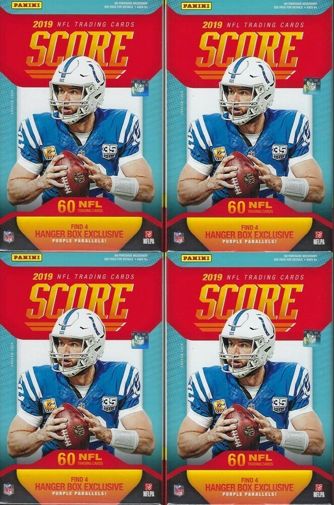 ac225bed2 (4) 2019 Panini SCORE Football NFL Trading Cards 60c Rtl HANGER Box LOT  PurplePC