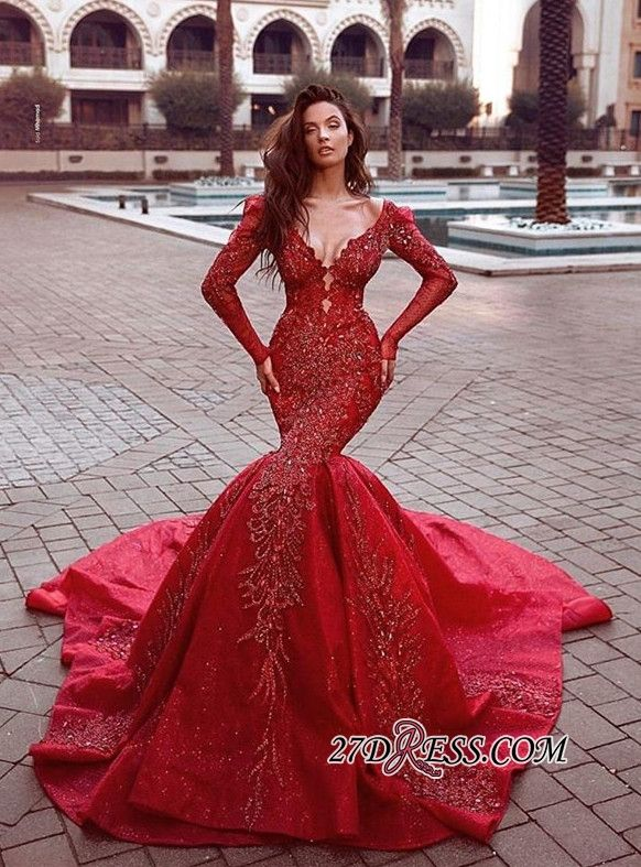 863c78515d3 Gorgeous Red Long Sleeve Prom Dresses