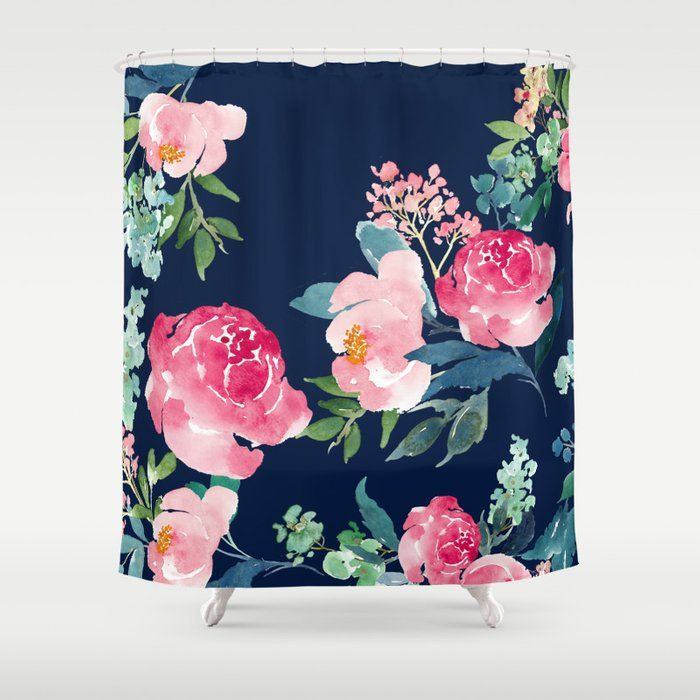 Buy Navy And Pink Watercolor Peony Shower Curtain By