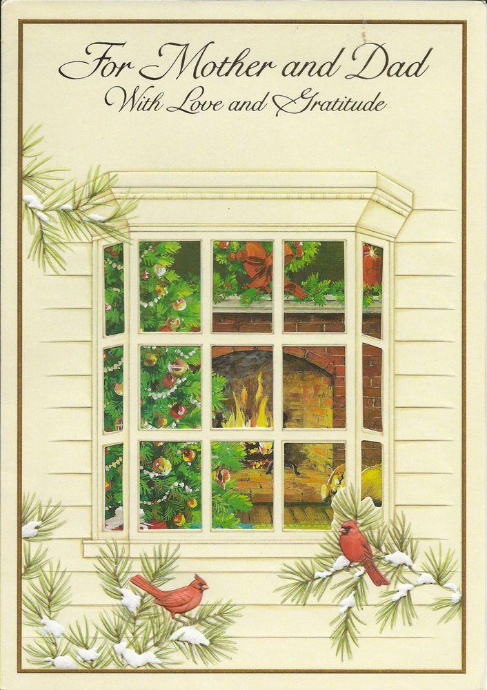 VTG EX LARGE CHRISTMAS Card BUZZA WINDOW SCENE FIREPLACE TREE MOTHER ...