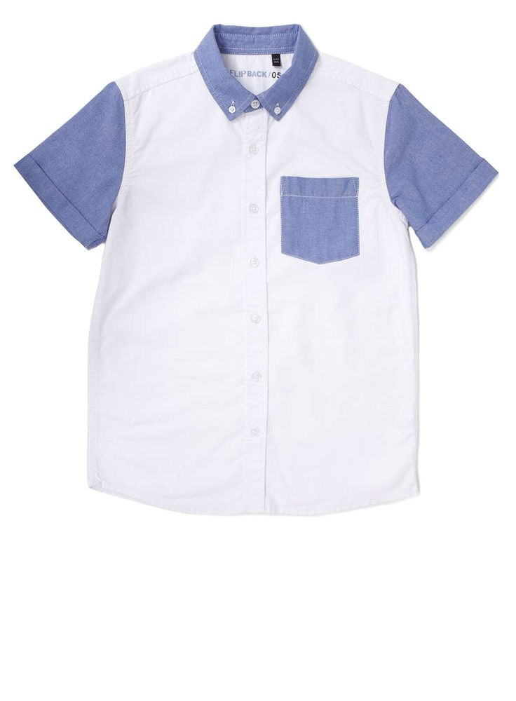 Boys Blue and White Colour Block Short Sleeve Shirt