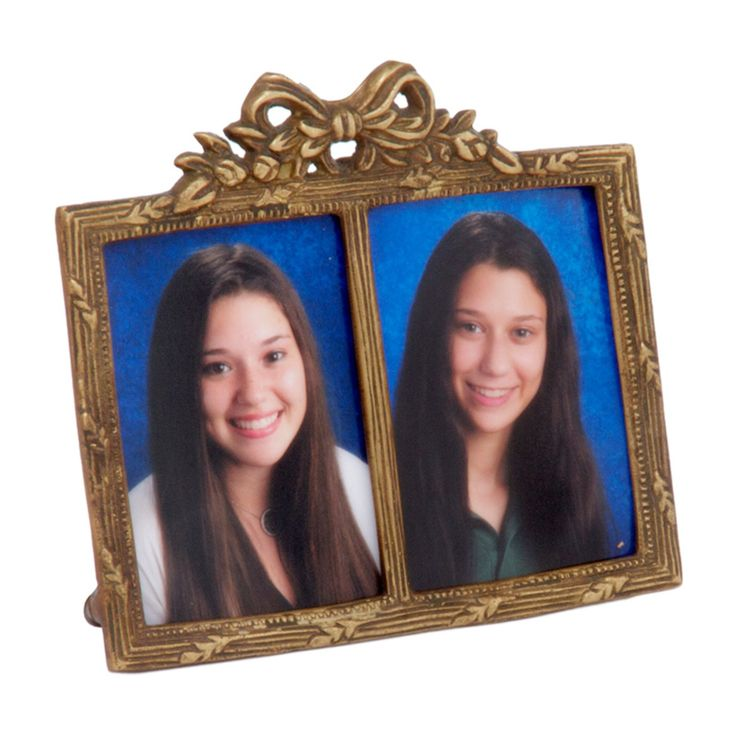 Antique Brass Double Photo Frame - 3019