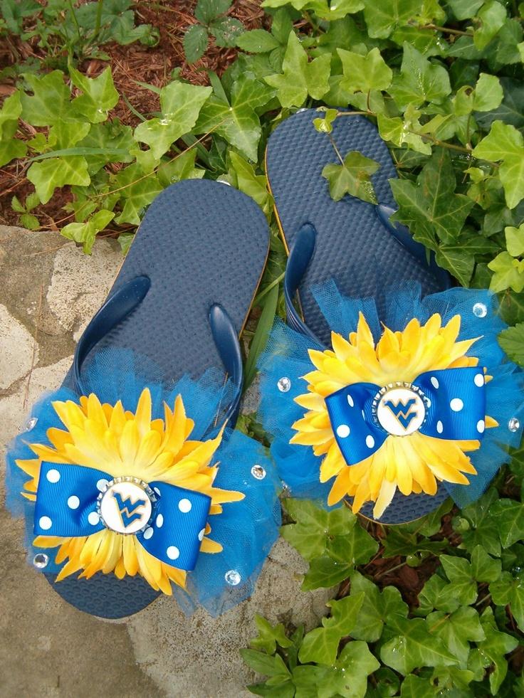 Custom WVU West VIrginia Mountaineer Pride Flip Flops Collegeiate WV Football Mom Cheerleader Team Spirit. $24.99, via Etsy.