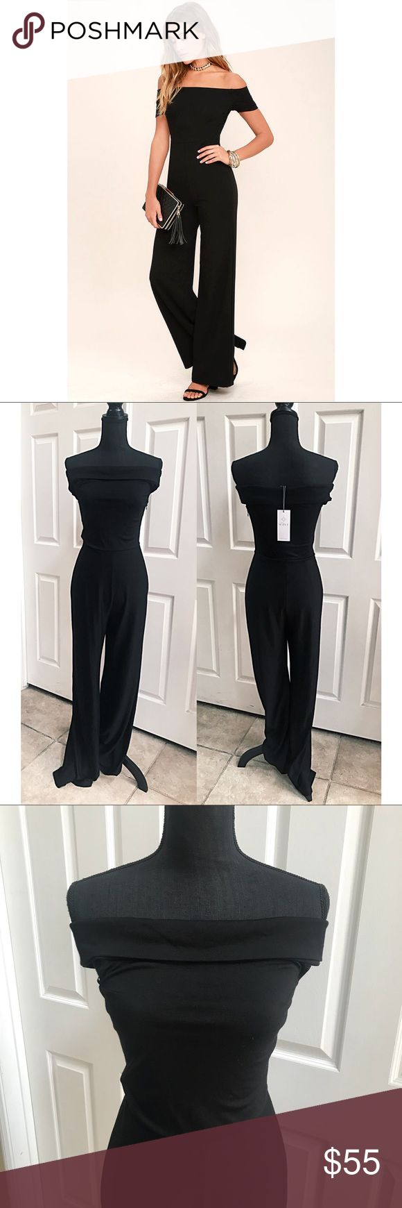 NWT WAYF Black One piece jumpsuit off shoulder Gorgeous solid black color one piece jumpsuit by WAYF  NOTE** First photo with model is a similar style, not the WAYF Brand- included to visualize similar fit. The Jumpsuit for sale is photographed in all other photos on mannequin.   Size small Stretchy  Off the shoulder  Wide leg pants Flare  New with tags Wayf Pants Jumpsuits & Rompers