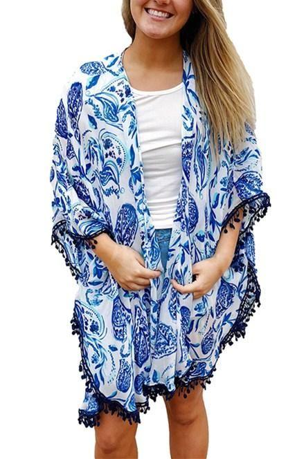 3b01ea083b4a9 Blue Paisley Print Tassel Beach Cover-up Kimono | WOMEN'S FASHION OF ...
