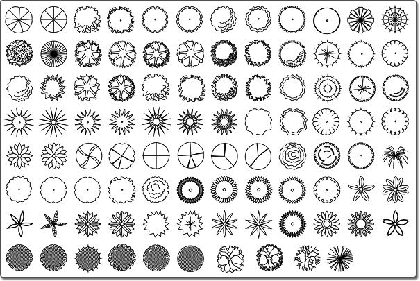 Landscape design software plant symbols outside for Landscape design icons