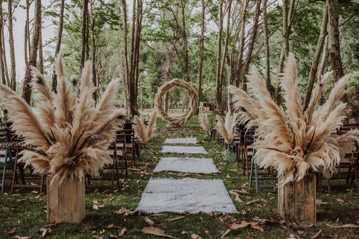 Pampas Grass Moon Gate Woodland Wedding with Two Grooms at Sa Farinera de Sant LLuis Empordà, Spain by Mille Papillons Events