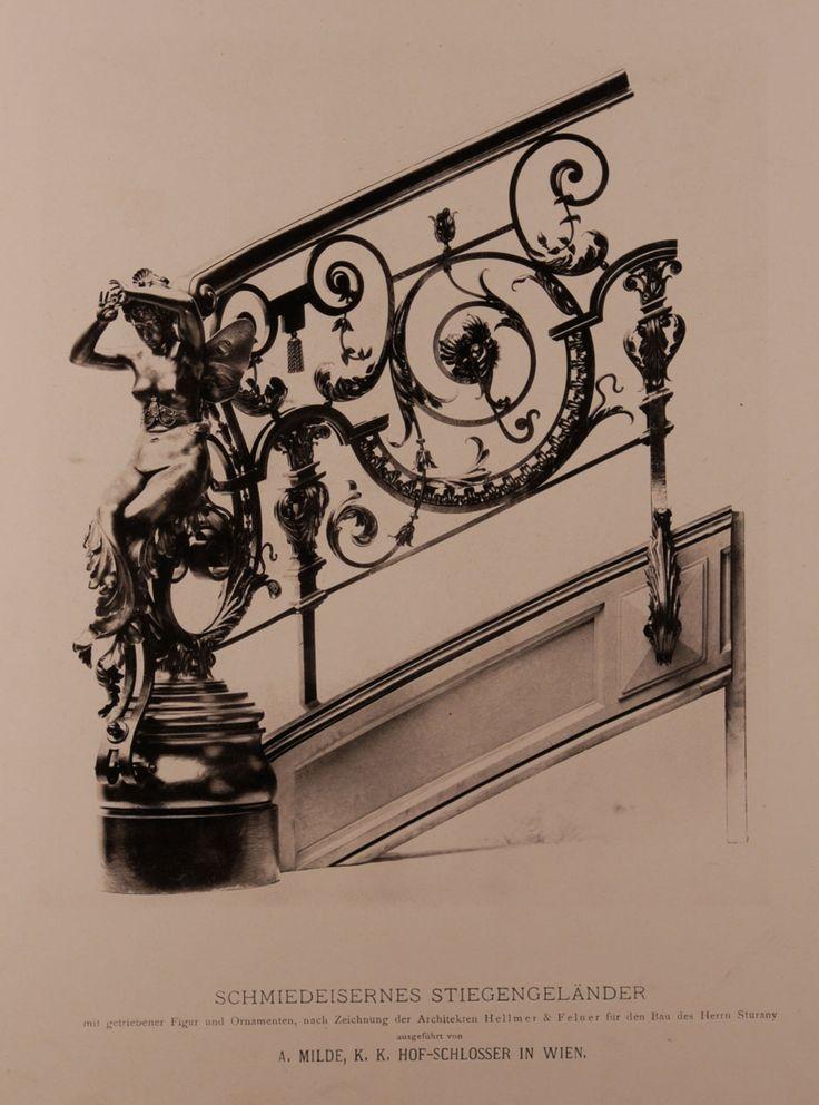 Palais Sturany, schmiedeeisernes Stiegengeländer mit getriebener Figur und Ornamenten