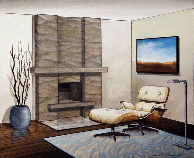 image result for modern tile - Moderner Kamin Umgibt Kaminsimse