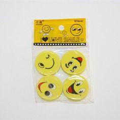 Gommes kawaï emoji visages souriants jaunes