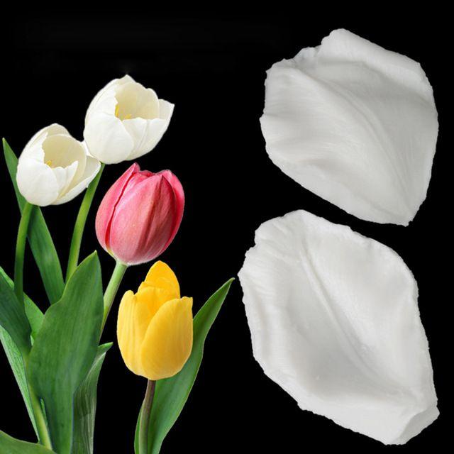 2Pcs Tulipánszirmák Szilikon öntvény Fondant Mold Cake Dekorációs eszköz Csokoládé Gumpaste Mold, Sugarcraft, Konyhai kiegészítők