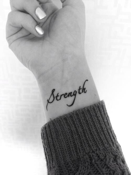 Strength wrist tattoo