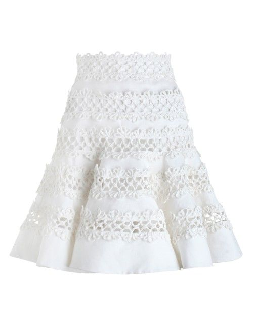 Zimmerman  Havoc Corded Skirt, from our Spring 16 collection, in White linen. Flared skirt with hand-woven cotton trim panels. Side zip closure.