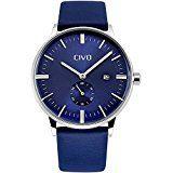 sparen25.de , sparen25.info#3: CIVO Herren Analoge Blau Lederband Uhr Männlich Luxus Zeitloses Einfaches Entwurf Klassisch…sparen25.com