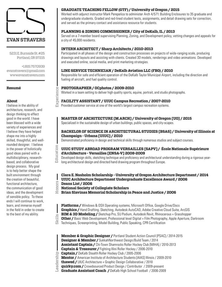 70 best Resume\/ Portfolio Examples images on Pinterest - architectural resume examples