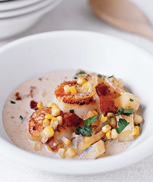 This creamy soup marries bright corn kernels with tender potatoes, crisp bacon, and golden brown scallops. Get the recipe for Scallop and Corn Chowder.